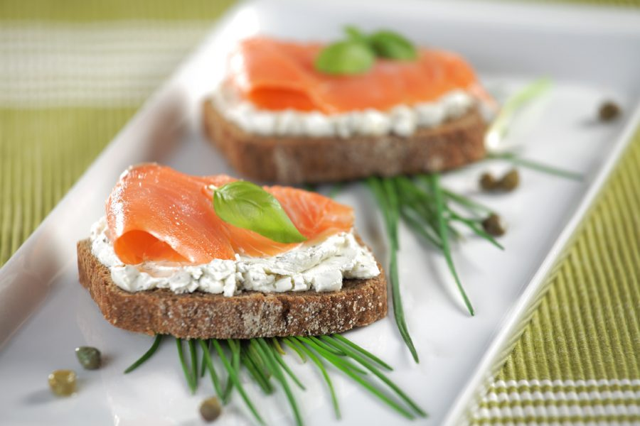 Diet cream cheese and salmon sandwich