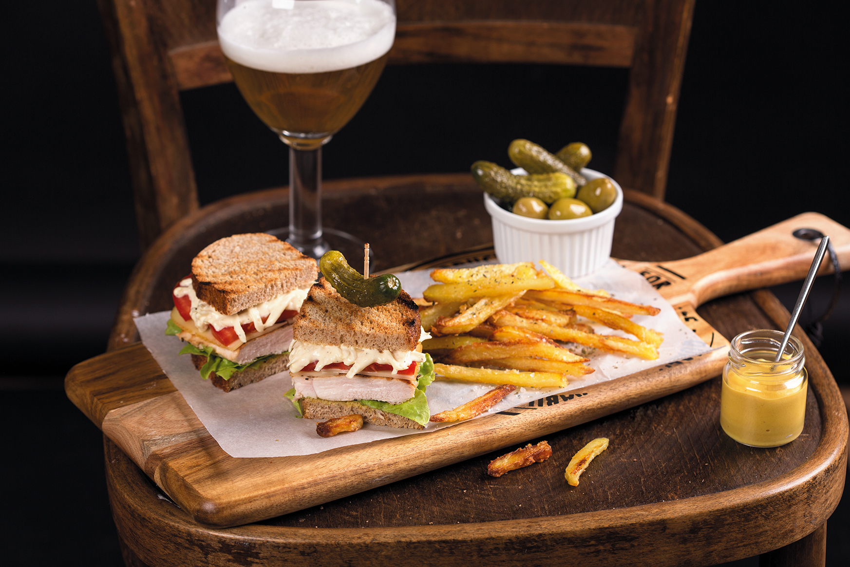 Whole-grain club sandwich with Parmigiano fries