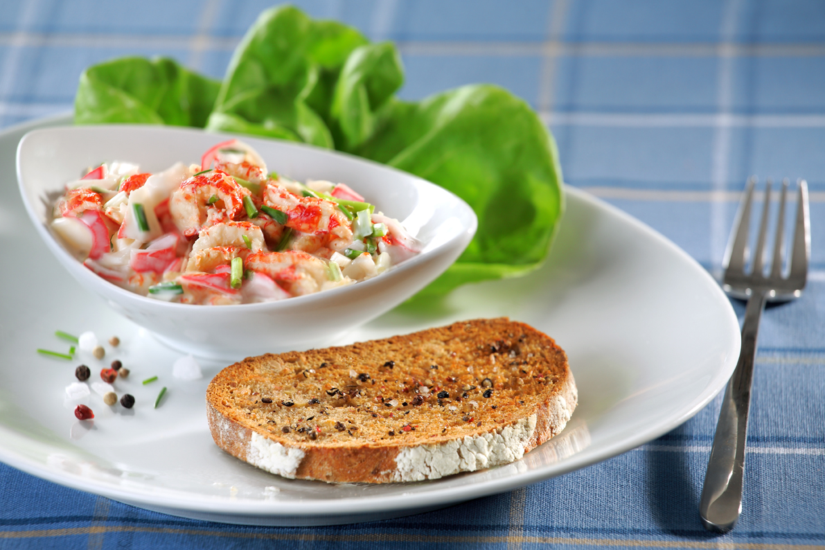 Crab salad with whole-grain toasted bread